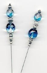 Deep Blue Sea Tsjechische Aqua en Zilveren 6 inch Hatpins - Hatpins - Rozen en theekopjes