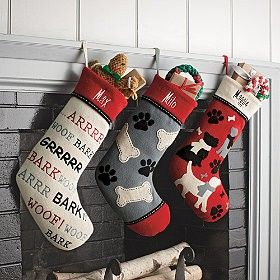 Print * Felt Christmas stockings for dogs. * Choose from three great stockings: Woof, Winter Dogs, Paws N' Bones. * Wool blend dog Christmas stockings. * Monogrammable. * Buy 2 or more stockings at a special promotional
