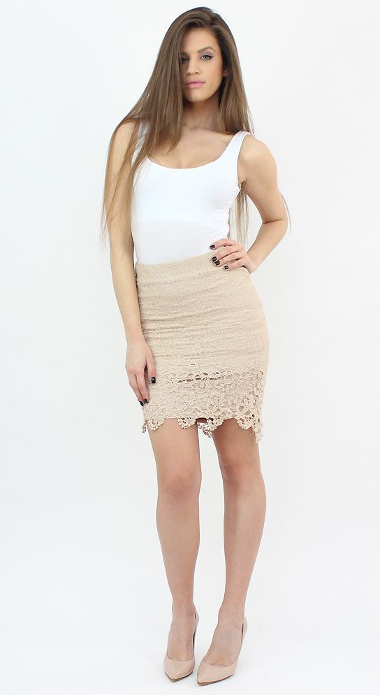 Beige Pencil Skirt for a special and elegant occasion...:)  #moda #shopping #haine #style #fashion