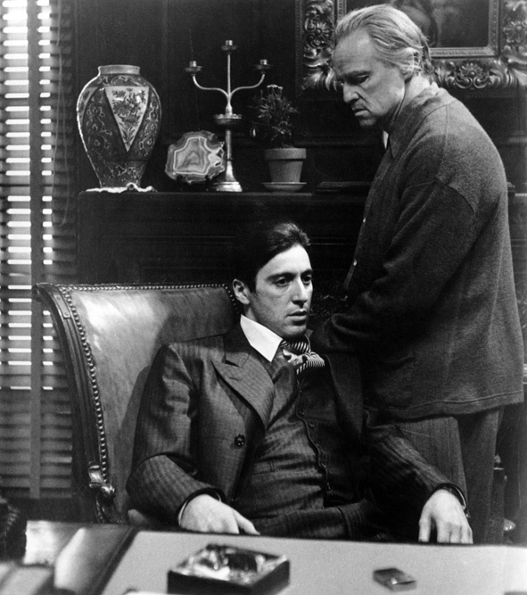 "Marlon Brando and Al Pacino in ""The Godfather Parts 1 & 2"" I will never admit that part 3 was ever filmed."