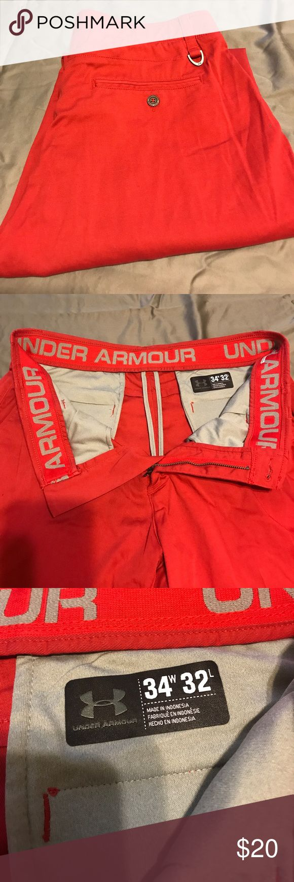 Men's Under Armour Red Golf Pants Red Men's Under Armour Golf Pants. Hemmed to be 34Wx28L Under Armour Pants Chinos & Khakis