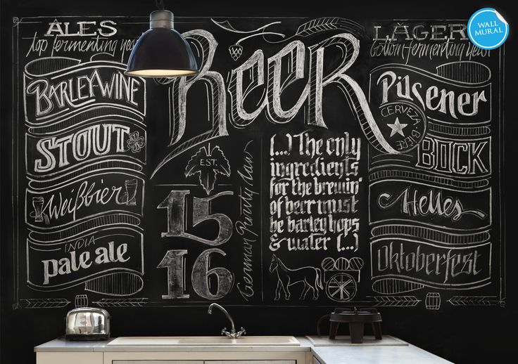 39 chalkboard beer 39 wall mural product code wrm395ln for Mural lettering