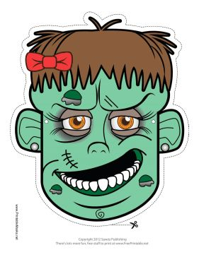 This Female Zombie Mask features a scary female zombie with facial scar and decaying flesh. Free to download and print
