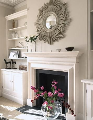 white built ins, love everything about this look. Shaker style white cabinets, fireplace, and the light grey/brown paint --- very soft & sophisticated
