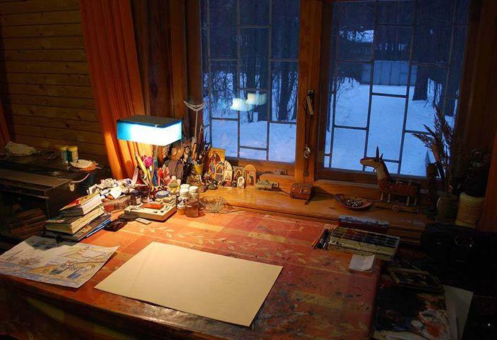 """Работа как удовольствие - Рабочее место творца: 25 писателей и художников и их """"кабинеты"""" :)"""