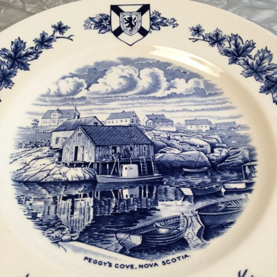 Peggy's Cove NS Blue and white collectible plate by VeryUsVintage