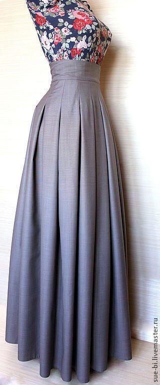 Длинная юбка на лямках