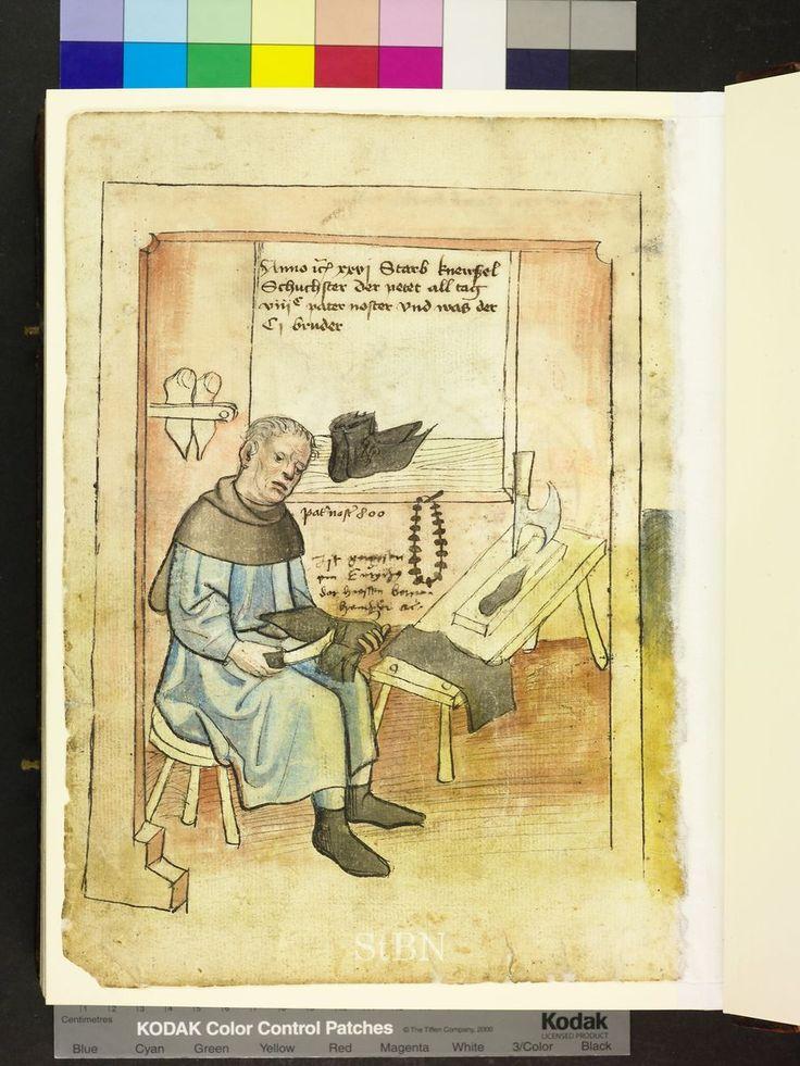 Amb. 317.2° Folio 48 verso  black rosary / paternoster hanging in the shoemaker's shop Die Hausbucher der Nurnberg Zwolfbruderstiftungen