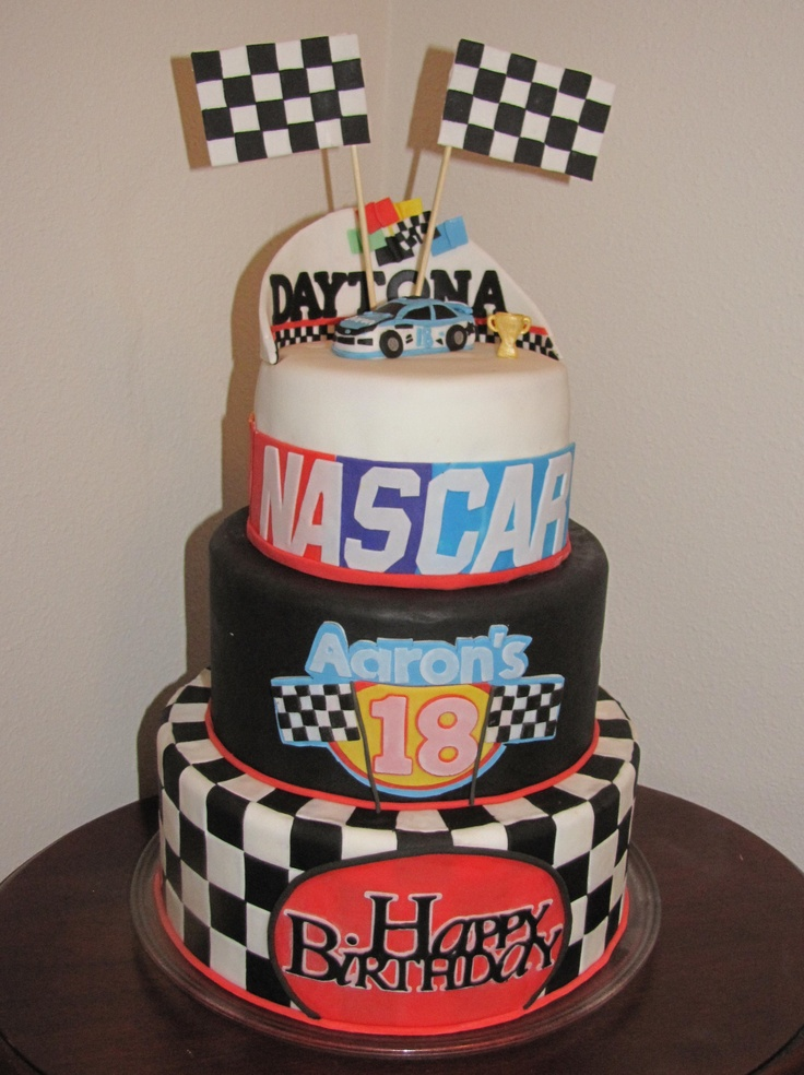 Racecars / Nascar / Forumula 1 Etc. - Nascar Daytona 500 cake. We bought our son the Richard Petty driving experience for his 18th Birthday. Fondant covered with hand sculpted fondant car.