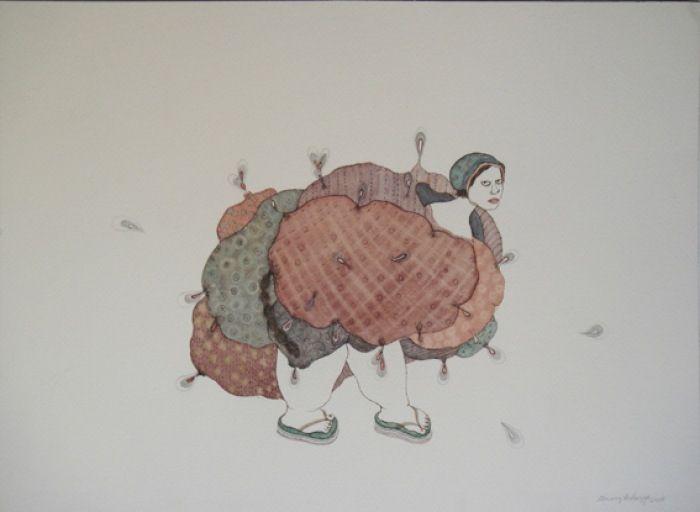 Dhruvi Acharya, Loadbearer, Watercolor on Paper, 25.5 x 35 cm