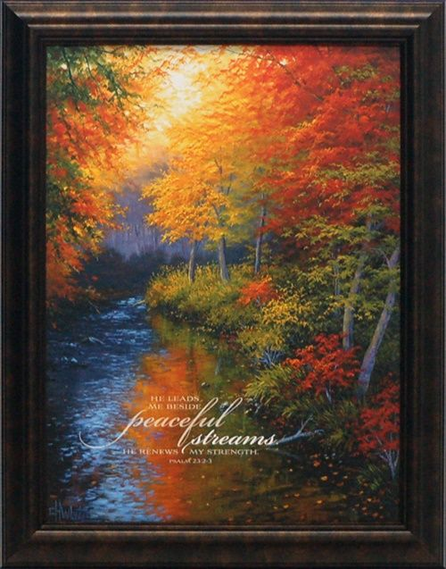 artistic reflections he leads me beside peaceful streams wholesale framed inspirational autumn landscape art print - Wholesale Art And Frames