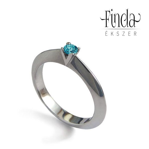 Viola nemesacél zöld gyémánt gyűrű