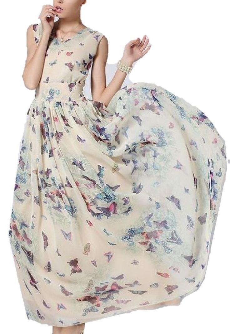 シャンディニー(Chandeny)ふんわり ! 上質 蝶々柄 シフォン ロング マキシ 丈 ワンピース エンパイヤ ドレス 舞台 発表会 に! / 大人 エレガント レディース ファッション / S M L XL XXL 大きい サイズ あります! (XLサイズ)