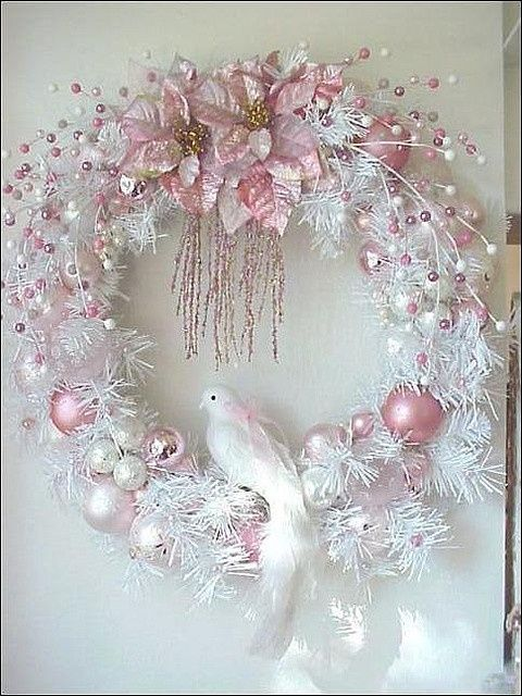"Stunning pink and white wreath with a dove embellishing it. (via ❄ ""My"" Pink Christmas ❄)"
