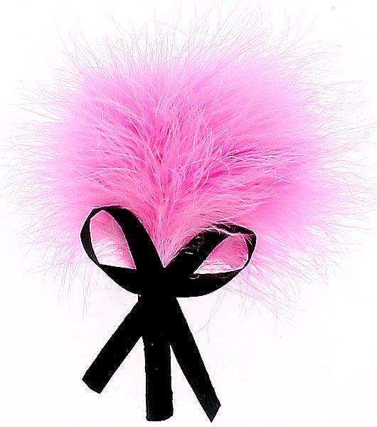 Plumeau rose sur tige avec noeud en satin noir - SM et domination/Fouet et martinet - my-sexshop.fr