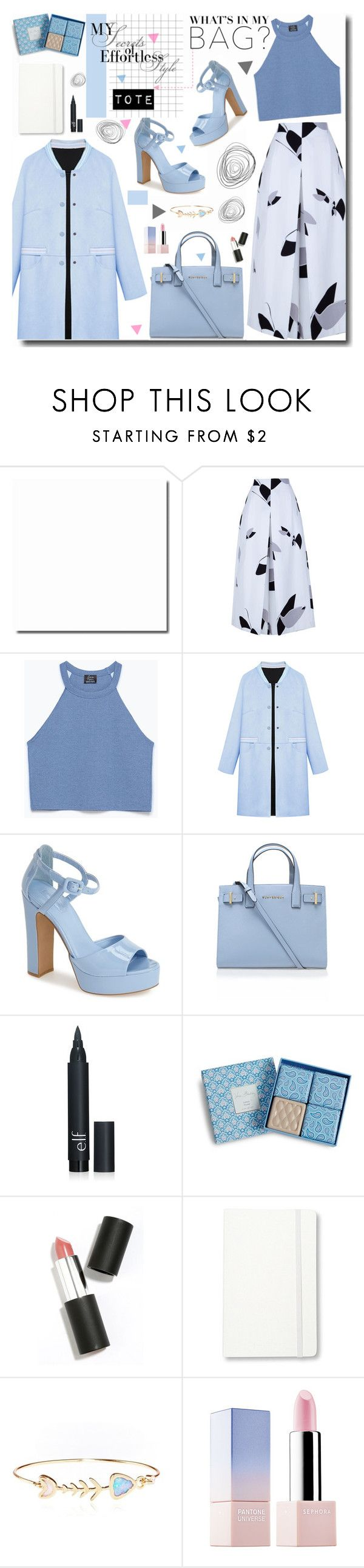 """Tote Bag"" by kts-desilva ❤ liked on Polyvore featuring mode, TIBI, Zara, WithChic, Topshop, Kurt Geiger, Vera Bradley, Sigma Beauty, Moleskine et Sephora Collection"