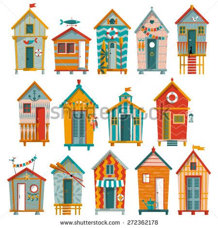 14 various multi-colored Beach Huts. Vector illustration