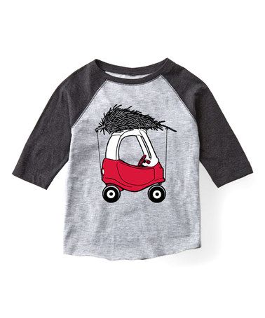 Another great find on #zulily! Athletic Heather & Black Car & Tree Raglan Tee - Toddler & Kids #zulilyfinds