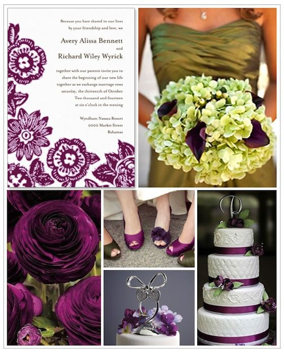 "This gorgeous plum and olive green color scheme just screams ""Winery Wedding."""