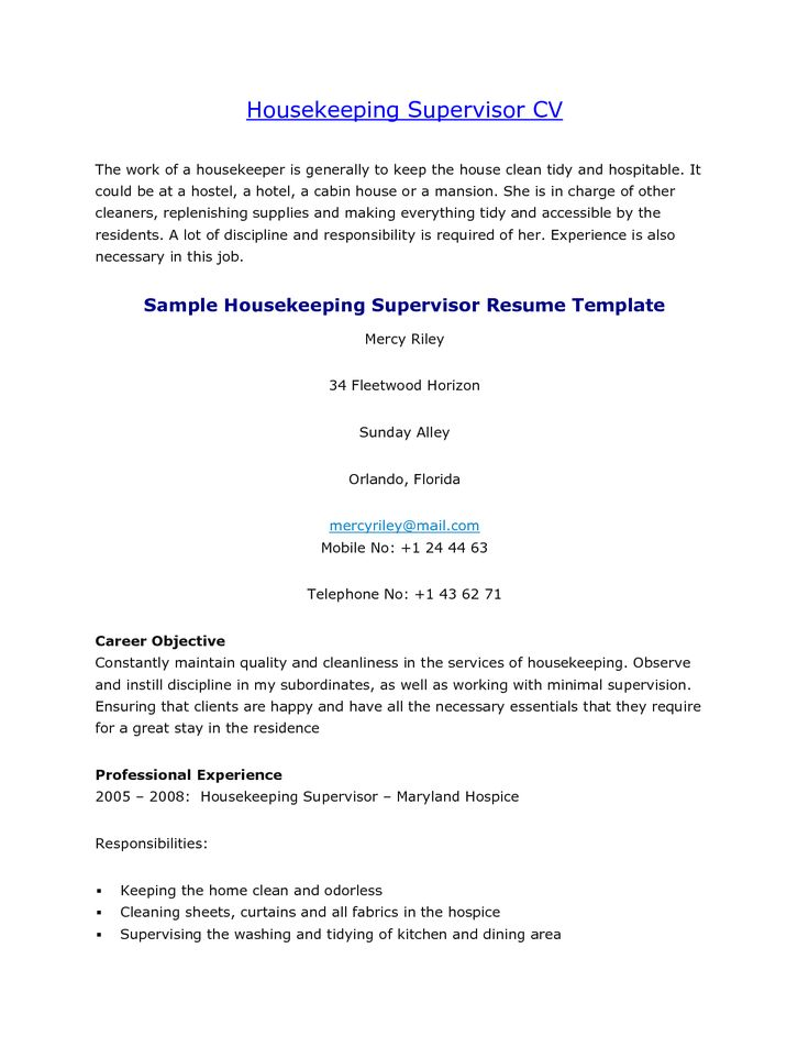 Resume For A Hospital Housekeeper Adsense - Performance professional