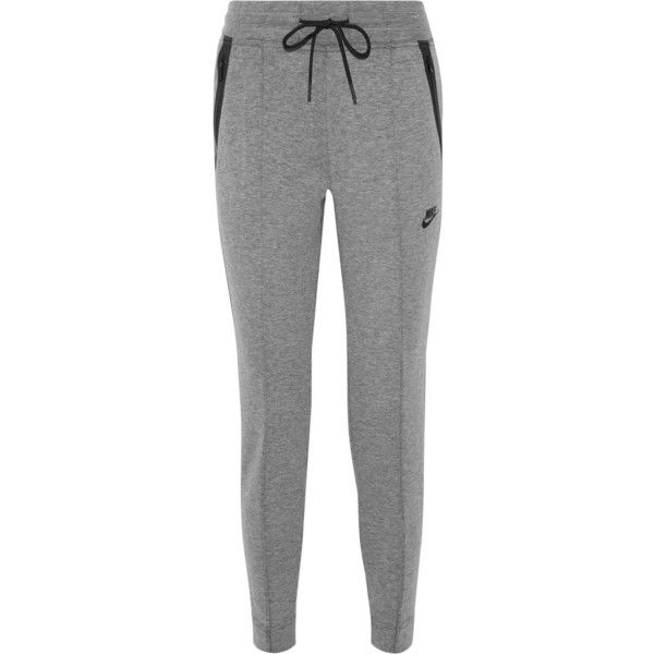 Nike Tech Fleece cotton-blend track pants ($100) found on Polyvore featuring women's fashion, activewear, activewear pants, pants, grey, nike activewear pants, nike, nike activewear, track pants and nike sportswear