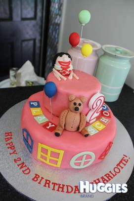 Two tiered play school cake, coconut. Home made fondant icing and toppers. Fondant Humpty, Little Ted, Balloons, Windows and lettering. Construction induced the early arrival of second child, 4 weeks early the following day.