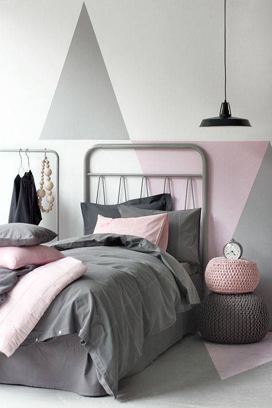 Chambre enfant rose et grise