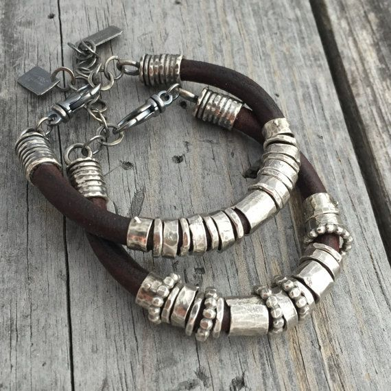 Leather Bracelet Sterling Silver Handmade Bracelet Wild Prairie Silver Jewelry By Joy Kruse