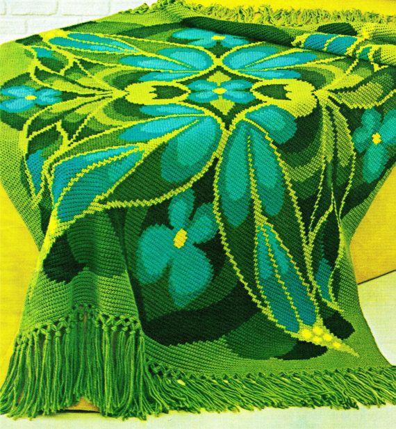 Holy Moly...Crochet Pattern - Vintage 70s BUTTERFLY Afghan - PDF Pattern via Etsy