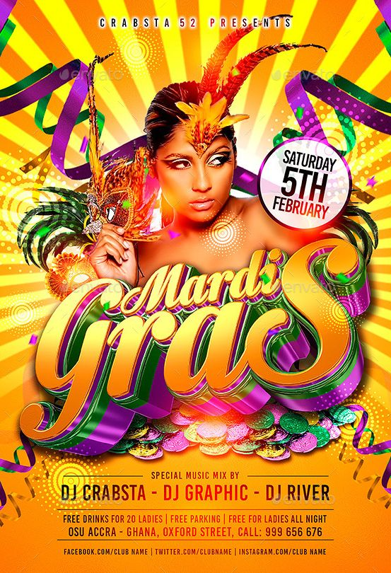 20 Best Best 20 Mardi Gras Party Flyer Templates Psd Images On
