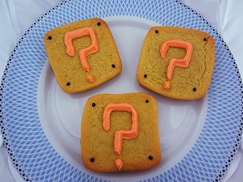 Super Mario Filled Question Block Cookies - Sugar cookies filled with surprise candy.