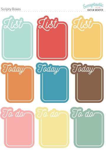 Scraptastic Club November 2016 Plan On It - Scripty Boxes Planner Sticker Sheet. These stickers are perfect for the Erin Condren Life Planner, The Happy Planner, Filofax, Carpe Diem and more planners!