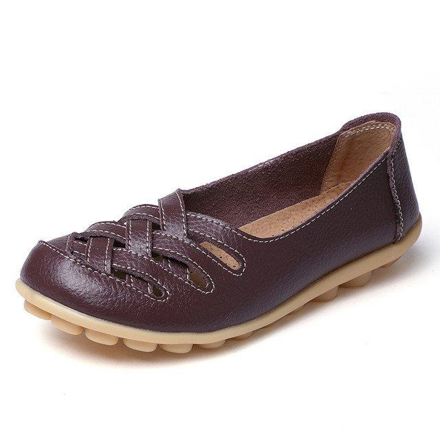 Strong Coffee Casual Comfy Smooth Shoes with Lattice Hatched Upper - C – Nodule Shoe