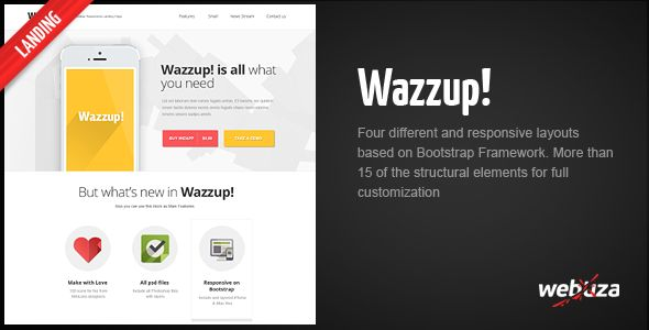 Wazzup – Bootstrap Responsive Landing Page - Technology Landing Pages
