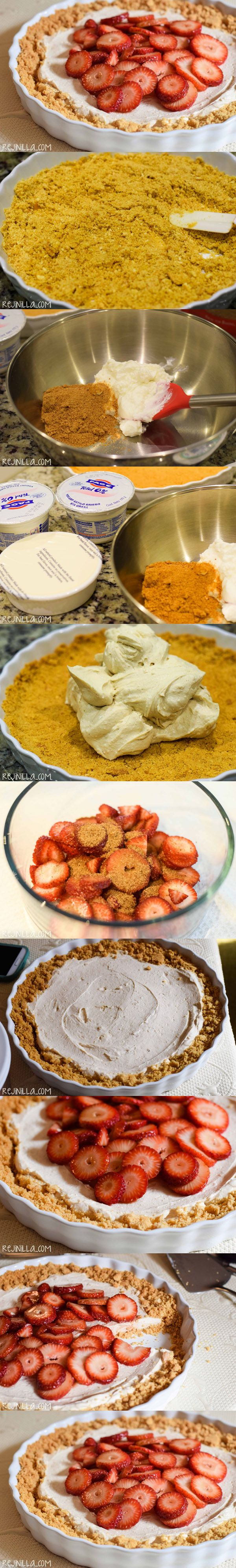 Pastel helado de yogur y fresas - http://www.rejinilla.com/