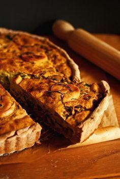 quiche aux poireaux et champignons (sans oeuf, sans lait, sans fromage et sans gluten)