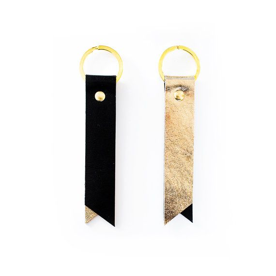 Gold Leather Keyring Metallic Leather Key Fob by gmaloudesigns