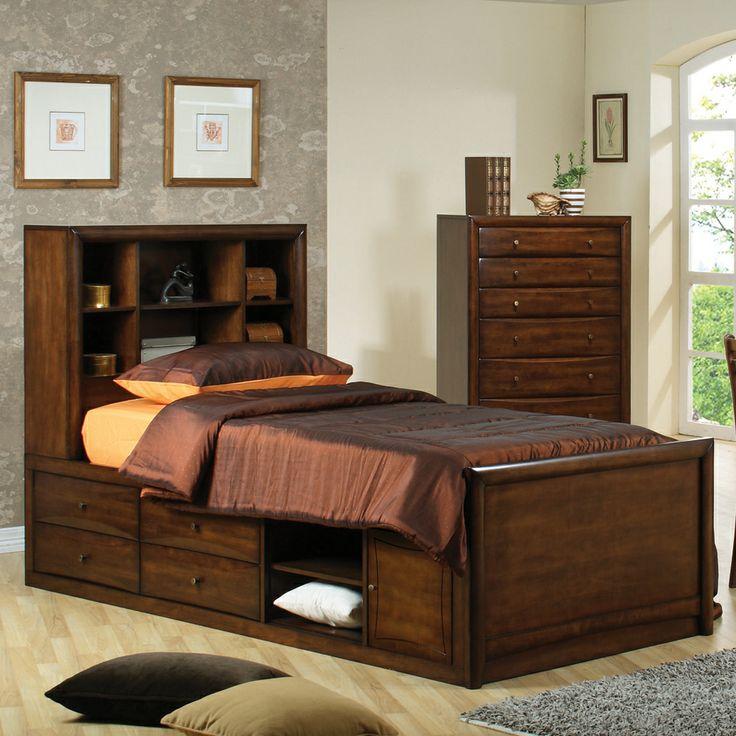 Scottsdale Bookcase Storage Bed by Coaster | Wooden Headboard Footboard Frame Storage Platform Captain's Chest Bed