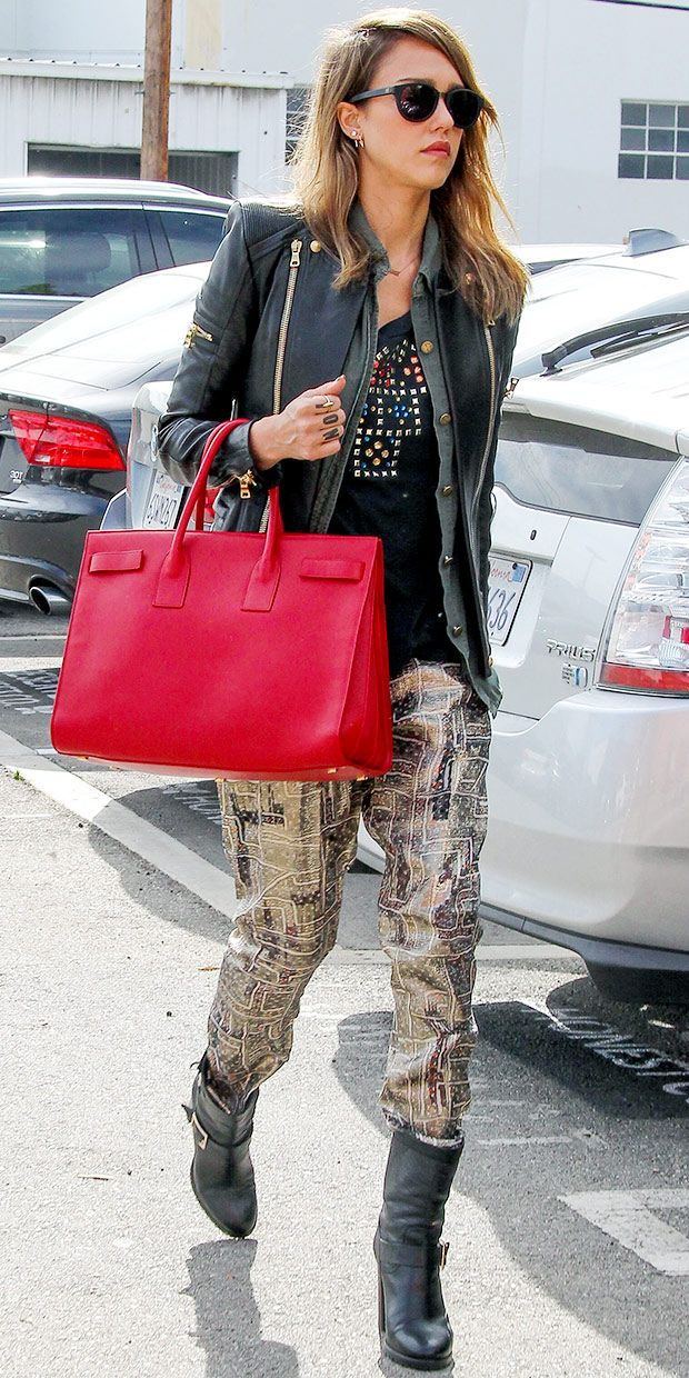 Jessica Alba Heads Into Her Santa Monica Office:  House of Harlow 1960 Emily Sunglasses, Current/Elliott x Revolve The Crew Neck in Back Beauty Jeweled, Isabel Marant pour H&M pants, Jennifer Zeuner Lowercase Block Nameplate Necklace, Saint Laurent Sac Du Jour Bag & Jimmy Choo Dart Boots
