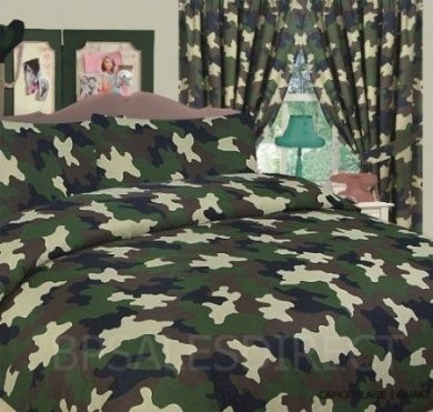 Army Camouflage Military Double Bed Duvet Quilt Cover Bedding Set Green New