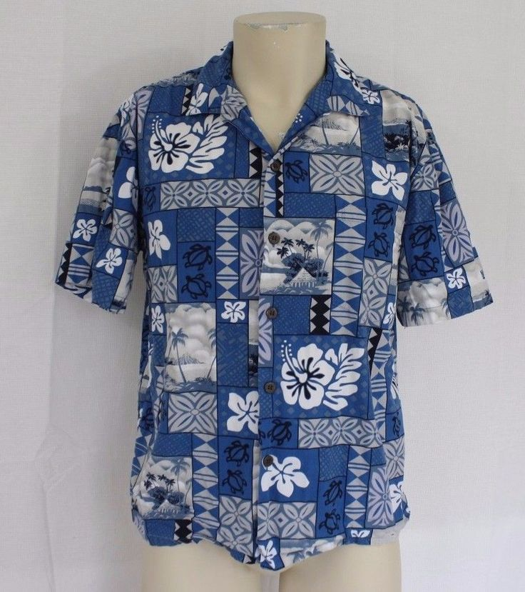Oh my tiki! Lovely bright blue tropical tiki men's cotton shirt of the 1960s msF0cx