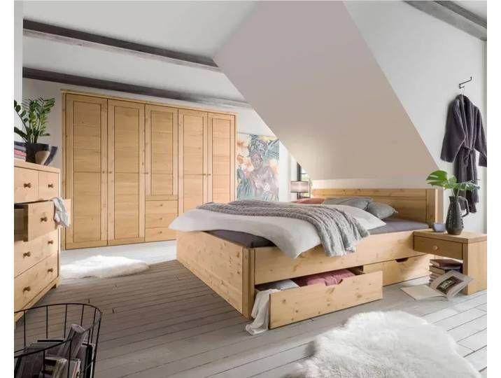 Massivholz Vita Bett Mit Schubkasten 100x200 Cm Natur Kleiderschrank Hinter Bett In 2020 Holz Schlafzimmer Haus Deko Kleiderschrank Holz