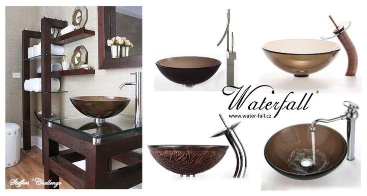 Hnědá koupelna, umyvadla na desku http://www.waterfall-products.cz/672-umyvadlove-sety a http://www.water-fall.cz/cz/koupelnove-baterie-luxusni-kuchynske/umyvadla-sety/
