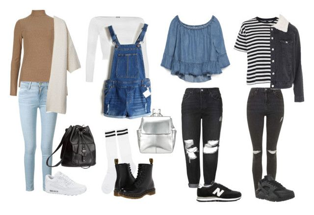 """""""High School Freshman Outfit Ideas"""" by samsus ❤ liked on Polyvore featuring Frame Denim, MANGO, NIKE, H&M, WearAll, Dr. Martens, Kin by John Lewis, Zara, Topshop and New Balance"""