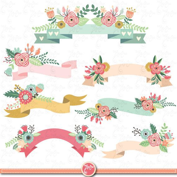 "Floral Banners clipart pack ""FLORAL BANNER"" clip art pack,Vintage Flowers,Digital Banners Clipart.,Banner,Wedding invitation Wd035 ."
