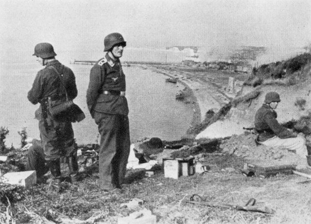 German position looking down on the beach at Dieppe.