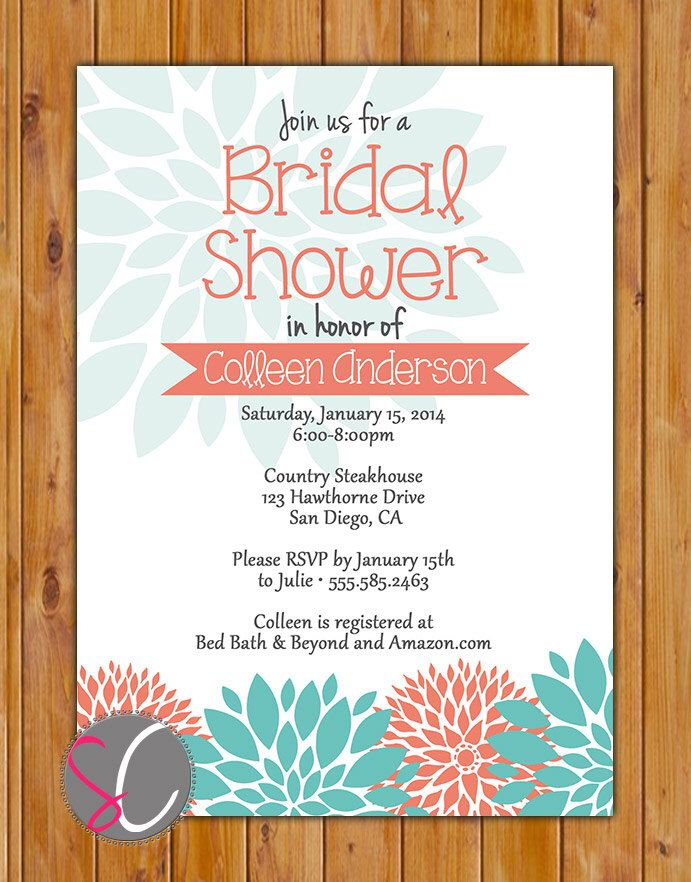 Coral Teal Floral Floral Bloom Bridal Shower Invitation Bride to be Invite Printable Wedding Shower Invite (222) by scadesigns on Etsy https://www.etsy.com/listing/184762194/coral-teal-floral-floral-bloom-bridal