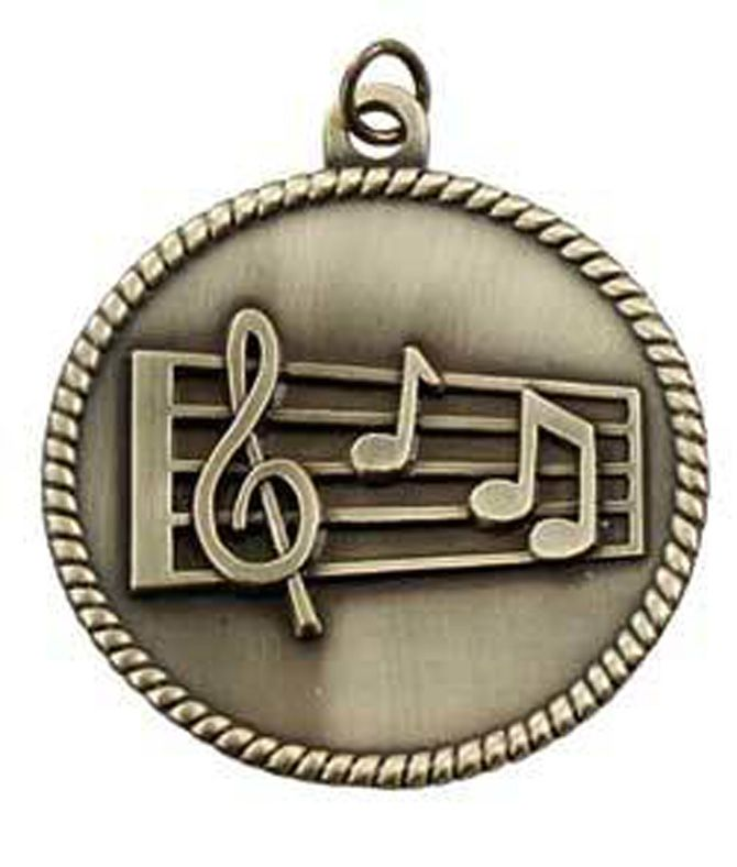 """BRONZE STAFF MUSIC MEDALLION 2"""" - 2"""".  Now you can save money and get the flexibility you need to offer first, second or third place awards! Medallions, medals, pin drapes and neck ribbons sold separately. Easy to assemble."""