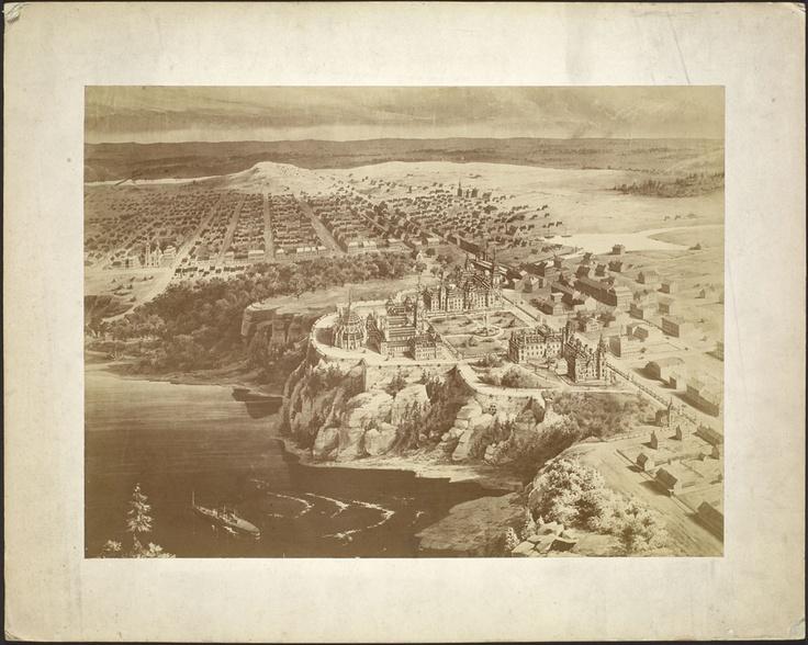 Vue à vol d'oiseau d'ottawa en 1875 (BAC, Mikan 2928485, Mention : Bibliothèque et Archives Canada, Droit d'auteur : Expiré)