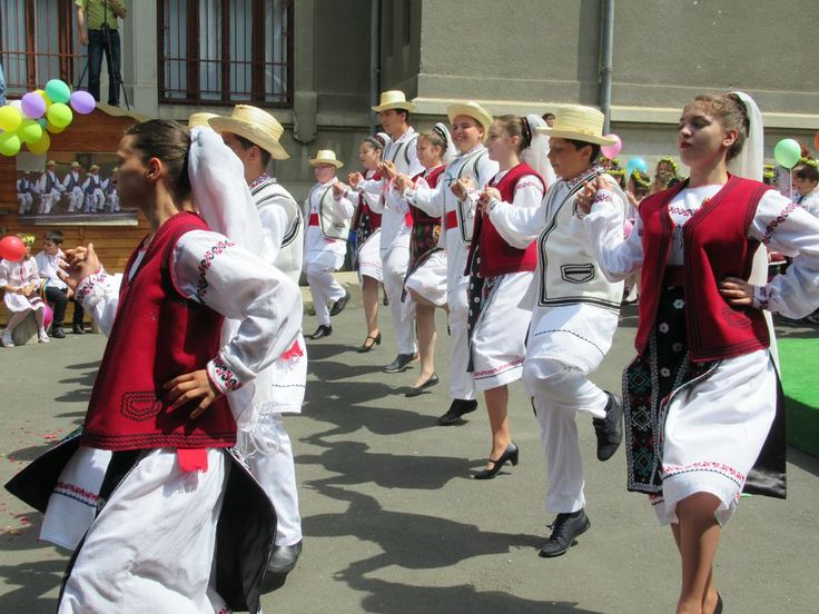 Students perform local folk dances at the Museum of Ethnography and Folk Art in Tulcea, Romania.